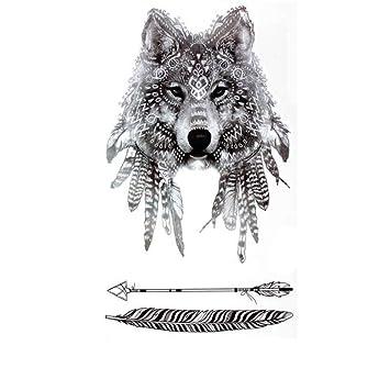 Justfox – Tatuaje temporal, diseño de lobo, tatuaje adhesivo ...