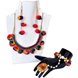 Pom Pom Multicolor Necklace Set with Hathphool/Bracelet & Earrings