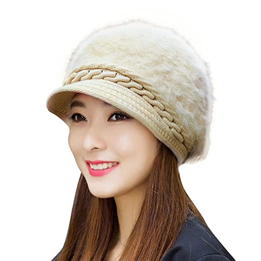 4ae92c5fe233d HINDAWI Winter Hats for Women Outdoor Warm Knit Snow Ski Crochet Skull Cap  with Visor Beige