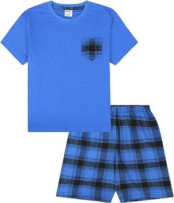 Pijamas Cortos Tejidos De Moda Azul Marino De Algodón