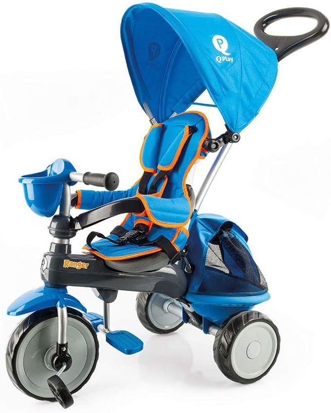 QPLAY PL Ociotrends 120T Triciclo Ranger Azul Acolchado con Bolso Y Capota 73X48X98 CM, Bebés Unisex