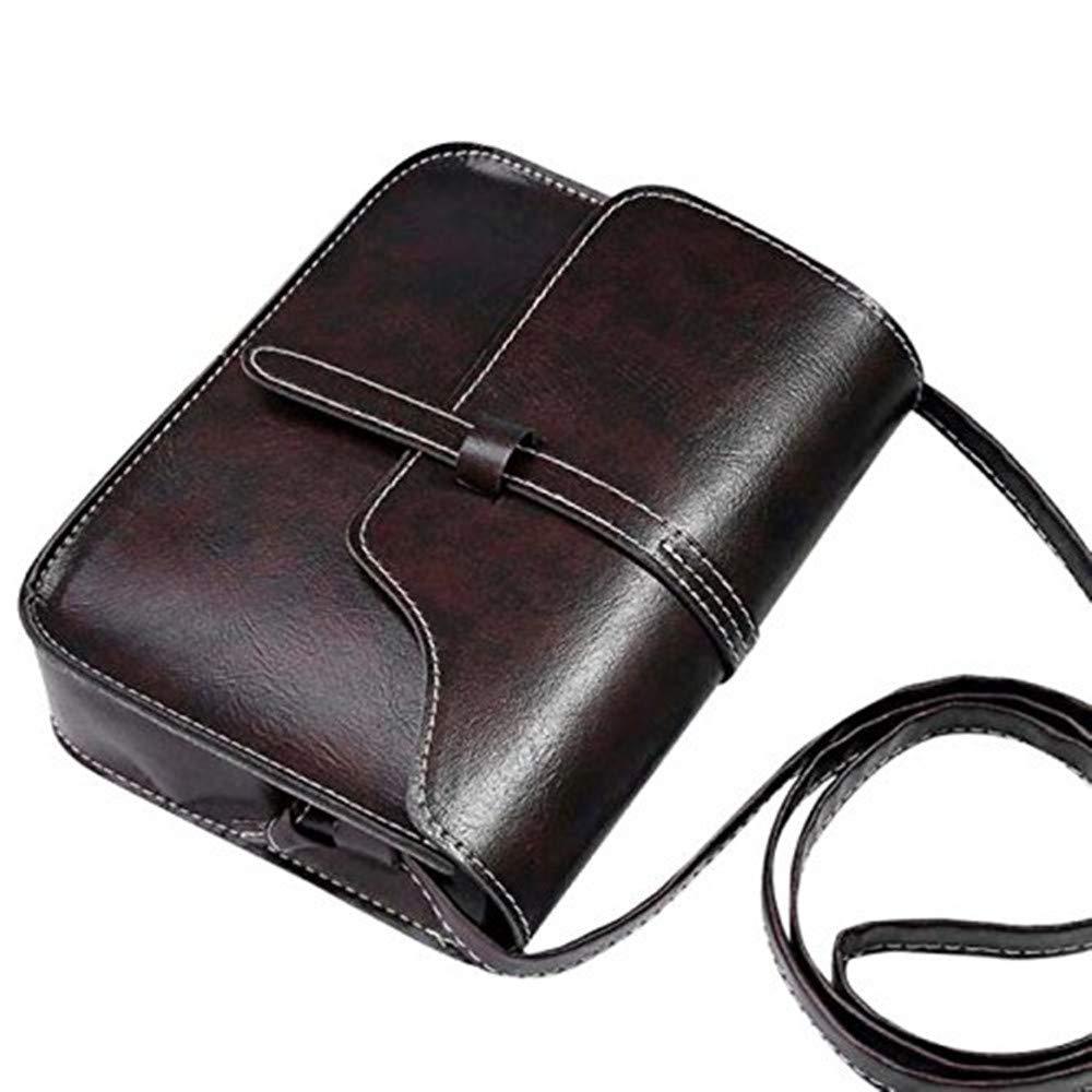 Wobuoke Vintage Elegant Purse Bag PU Leather Cross Body Shoulder Messenger Bag Multi-Color Clearance