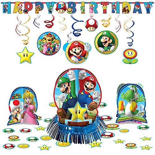 amscan Super Mario Bros Hanging Childrens Birthday Party Pack Decoration Kit -