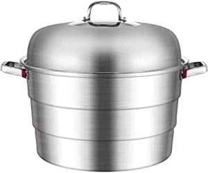 XH&XH Stainless Steel Steamer Thick Extra Large Three-Layer Steamer Super Large Canteen Hotel Restaurant Commercial Hot Pot Gas Cooker Induction Cooker Multi-Purpose Pot (Size: 45cm)
