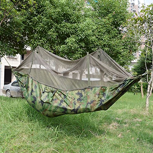 GOLD-Fall Outdoor Garden Hammock with Mosquito Net (Camou...