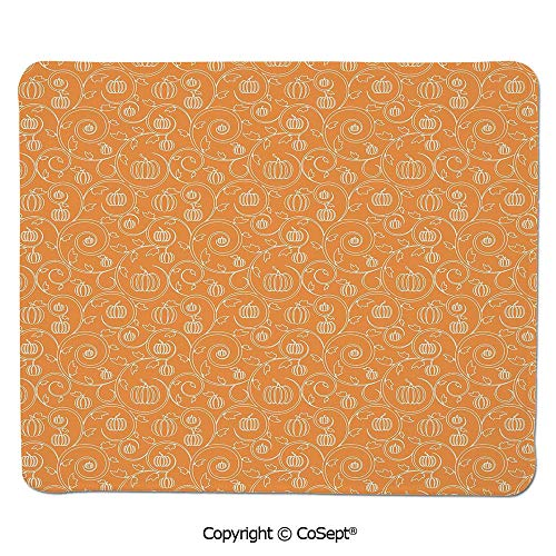 Quality Selection Comfortable Mouse Pad,Pattern with Pumpkin Leaves and Swirls on Orange Backdrop Halloween Inspired,for Computer,Laptop,Home,Office & Travel(7.87