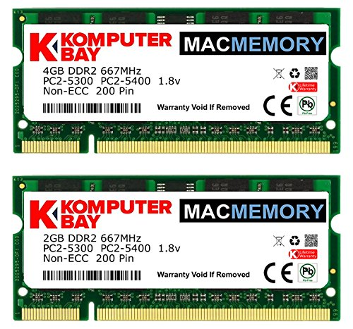 Komputerbay MACMEMORY 6GB Kit (4GB + 2GB Modules) PC2-5300 667MHz DDR2 SODIMM for Apple MacBook Pro early 2008 2.1GHz 2.4GHz 2.5GHz (5300 Dual Channel Kit Laptop)