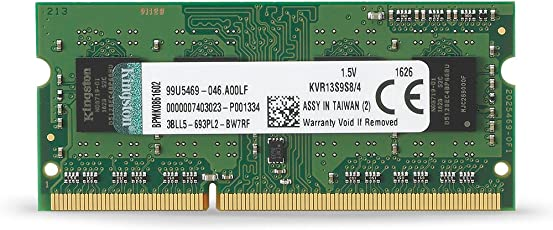 Kingston Value, RAM 4GB 1333MHz PC3-10600 DDR3 Non-ECC CL9 SODIMM SR X8 Memoria de computadora portátil (KVR13S9S8/4)