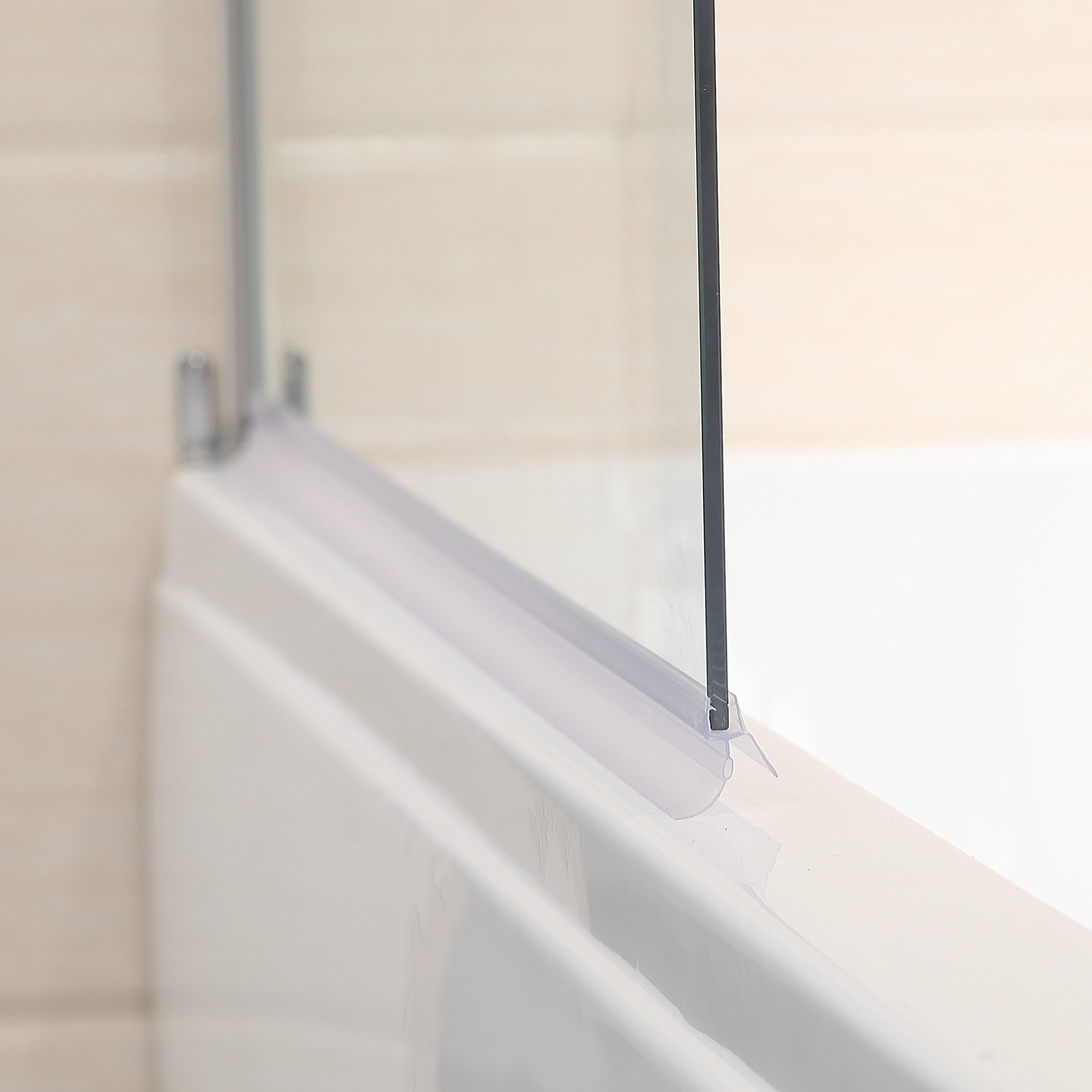 Mecor 55''X31'' Bathtub Shower Door 1/4'' Clear Glass Hinged Pivot Radius Frameless Chrome Finish by mecor (Image #5)