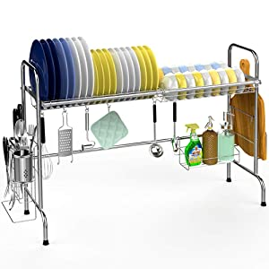 Over the Sink Dish Drying Rack, Veckle Large Dish Rack Stainless Steel Dish Drainer Easy Install Non-Slip Dish Dryer Utensil Holder, Cutting Board Holder Kitchen Sink Shelf Storage Rack