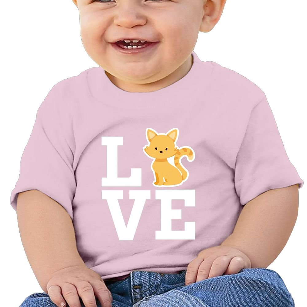 REBELN Love My Cat Cotton Short Sleeve T Shirts For Baby Toddler Infant