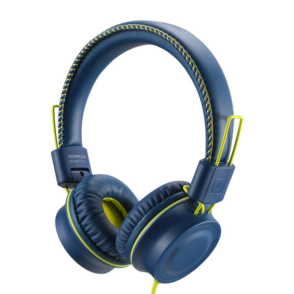 POWMEE M2 Kids Headphones Wired Headphone for Kids,Foldable Adjustable Stereo Tangle-Free,3.5MM Jack Wire Cord On-Ear Headphone for Children/Teens/Girls/School/Kindle/Airplane/Plane/ (Blue) by POWMEE