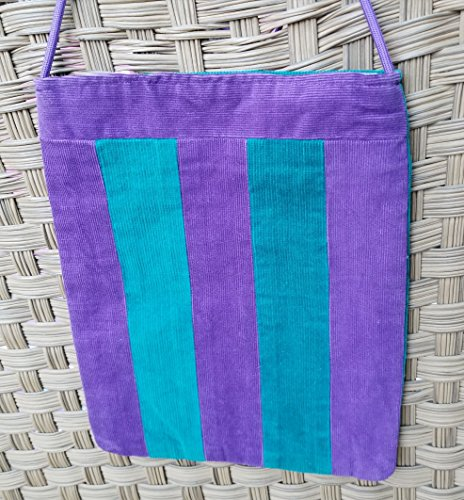 Purple And Teal Striped Corduroy Shoulder Journal - Purple Ferrari