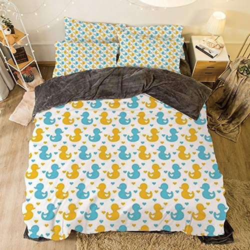 Flannel 4 Piece Cotton Queen Size Bed Sheet Set for bed width 6.6ft Winter Holiday Pattern by,Rubber Duck,Baby Ducklings Pattern with Little Hearts Love Animals Print Nursery Room,Blue and Yellow ()
