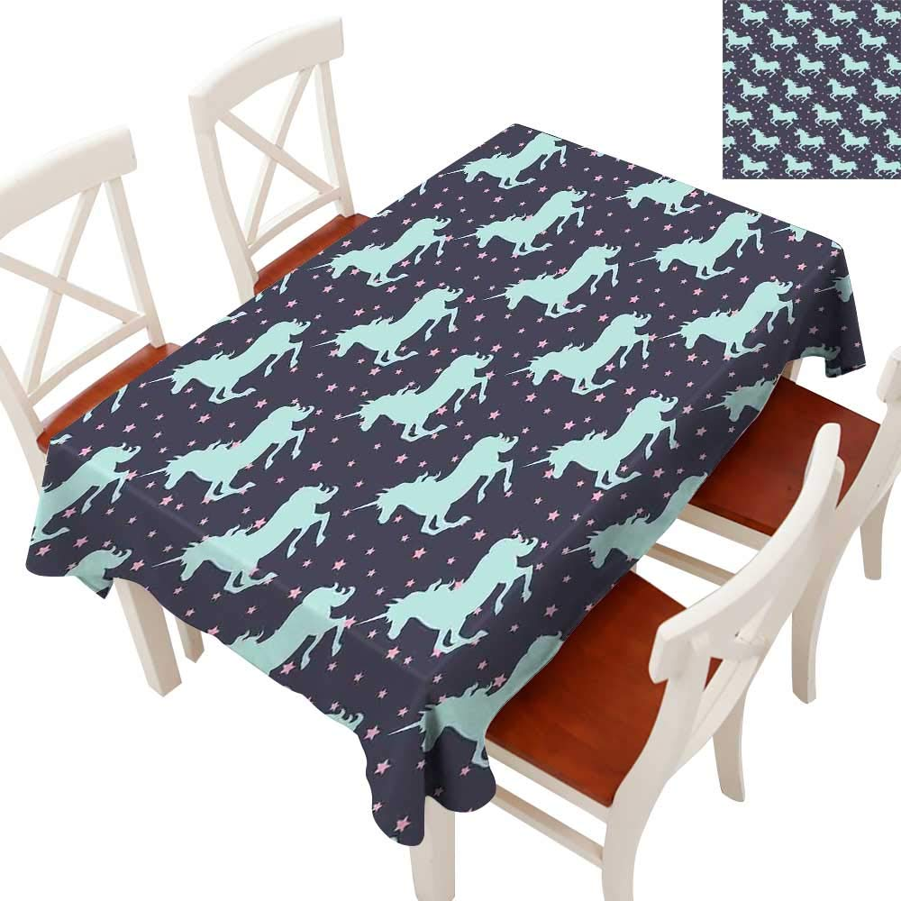"""longbuyer Unicorn Elegance Engineered Christmas Tablecloth Cute Magic Unicorn with Twinkle Little Spot Stars and Dark Background Art Patterns Tablecloths for Kitchen Dark Blue and Pink 54"""" × 90"""""""