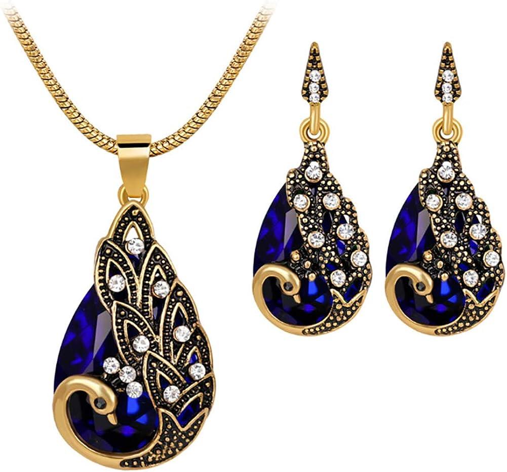 Pfau Retro-Stil Momangel Schmuckset Halskette mit Strass-Steinen europ/äischer und amerikanischer Stil