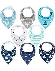 Baby Dreieckstuch 8er Saugfähig Weich Spucktuch Baumwolle Halstücher mit Druckknöpfen für Baby Jungen und Mädchen Kleinkinder YOOFOSS