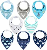 Baby Bandana Dribble Bibs 8 Pack Drool Bibs for Drooling and Teething Super Soft and Absorbent for Boys Girls by YOOFOSS … (Boy)