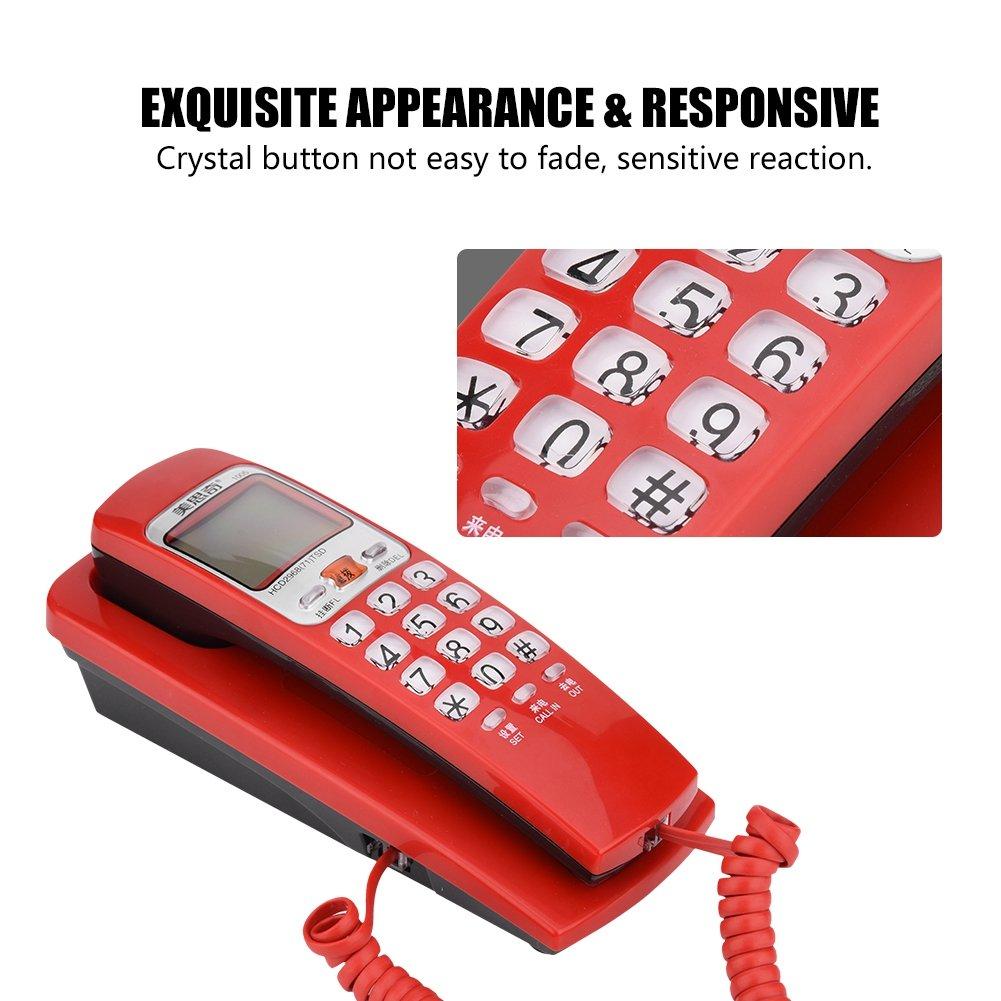 Schnurtelefon Rot Wandtelefon Schnurtelefon mit FSK//DTMF Anrufer ID Callback-Funktion 30 Gruppenrufnummer Speicherabfrage und One-Key-Replay-Funktion,F/ür B/üros und Familien,4 Farben verf/ügbar