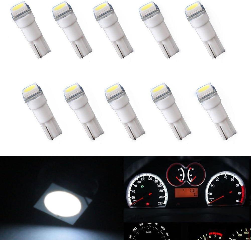 10x T5 1SMD LED White Dashboard Gauge Wedge Instrument Panel Light Bulb 58 70 74