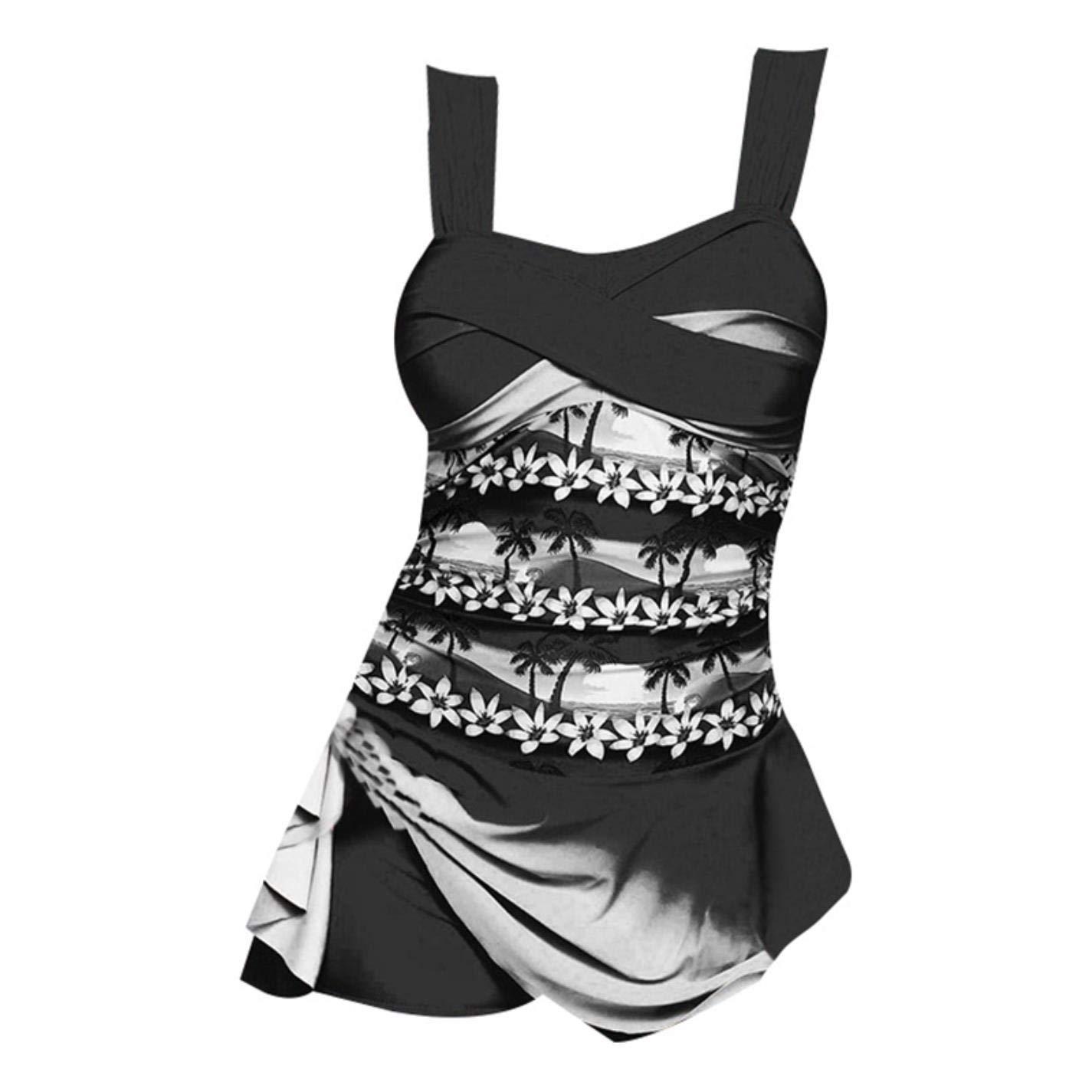 HSH/_H Retro Print Push Up One Piece Monokini Ruched Tummy Control Swimsuit Skirt Swimwear Women Plus Size Bathingsuit Shorts Dres Purple