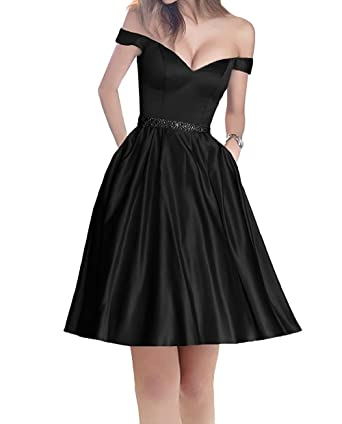 Short Prom Dress Off Shoulder Homecoming Dress with Pockets A-Line Beaded Satin