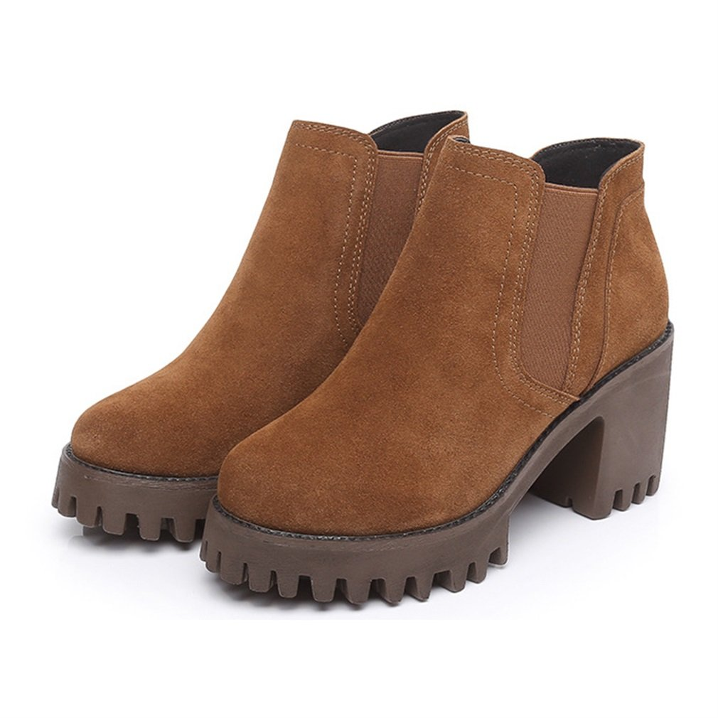 Xianshu nubuck Block talon rétro nubuck bottes Slip bottes on matin talon bottes Marron c460315 - latesttechnology.space
