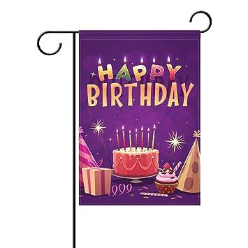 Amazon Happy Birthday Garden Flag Celebrate Cake Candles