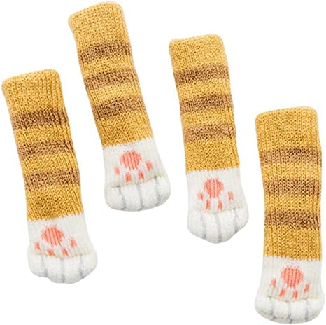 4pcs Practical Non-slip Table Chair Leg Foot Covers Floor Protector Knit Socks