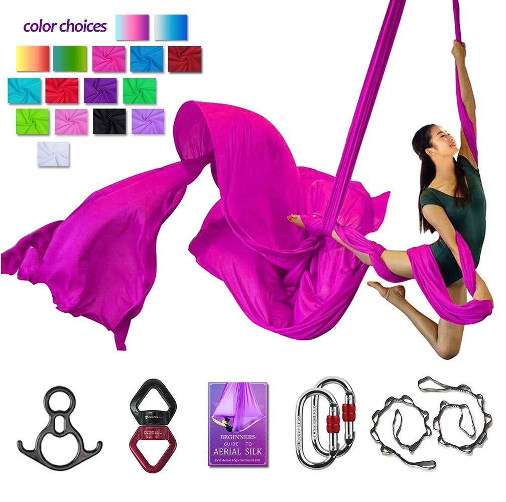 Aerial Silks Deluxe Equipment Set for Aerial Yoga, Aerial Yoga Hammock, Aerial Acrobatic,Circus Arts, Aerial Dance(L:10m W:2.8m (Pink)