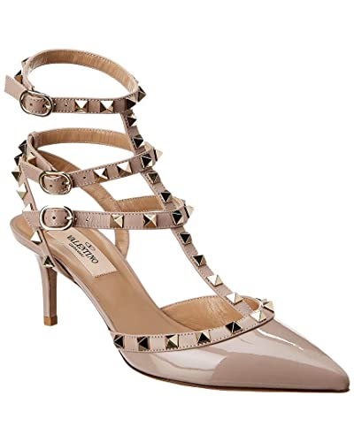 8730527a408a Image Unavailable. Image not available for. Color  VALENTINO Cage Rockstud  65 Patent Ankle Strap Pump ...