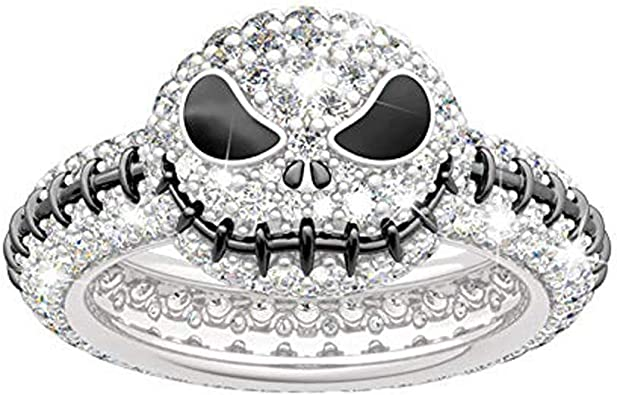 Jeulia Sally from The Nightmare Before Christmas Fashion Rings 925 Sterling Silver Diamond Ring Halloween Jewelry Bridal Set Wedding Engagement Anniversary Promise