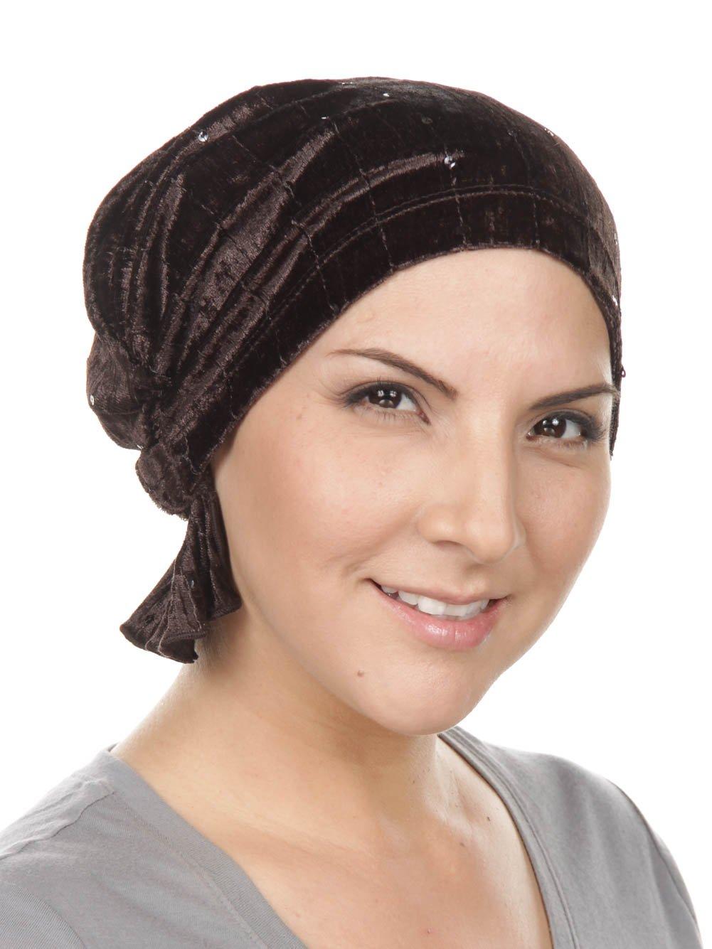 Abbey Cap Womens Chemo Hat Beanie Scarf Turban Headwear for Cancer Stretch Velour Dark Brown