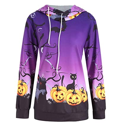 9021b44156a Womens Halloween Pumpkin Hoodie Funny Unisex Printed 3D Pullover Sweatshirt Plus  Size (S