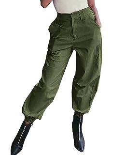 Amazon.com: minisoya Mujer Pantalón Cargo pantalones con ...