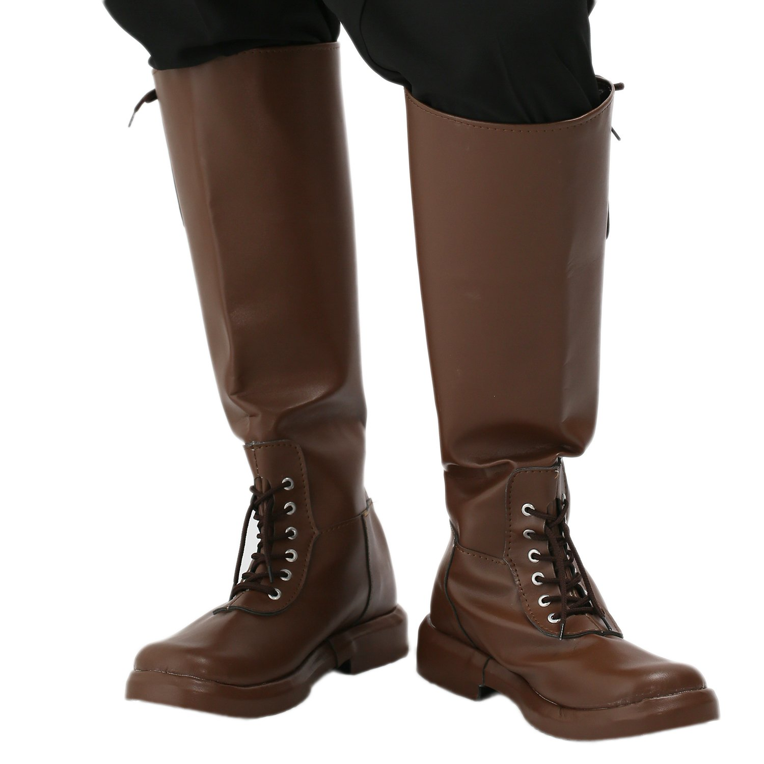 Rocketeer Cliff Shoes Deluxe Brown PU Knee-high Boots Halloween Cosplay Costume Prop 46