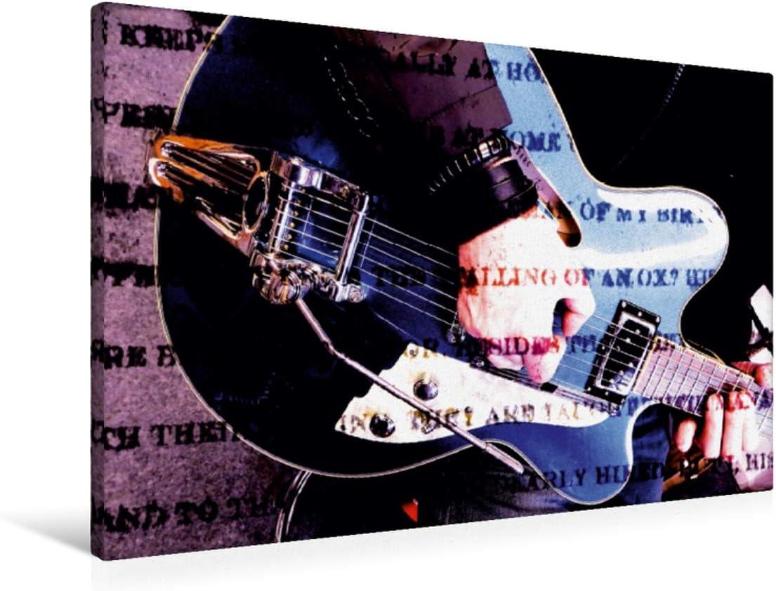CALVENDO Premium Lienzo 90 cm x 60 cm Horizontal, Jazz Imagen de Pared, Imagen sobre Lienzo, Lienzo Lienzo Lienzo Lienzo Lienzo Impreso: Guitarra semiacústica en el Estilo Grunge (calvento Art) Arte