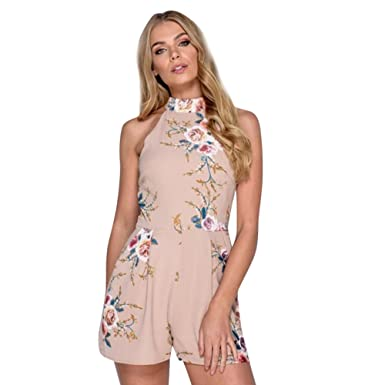 16078ffdcdf Amazon.com  Handyulong Women s Sleeveless HIgh Neck Floral Print Casual  Rompers Beach Holiday Jumpsuits Shorts Playsuits for Teen Girls  Clothing