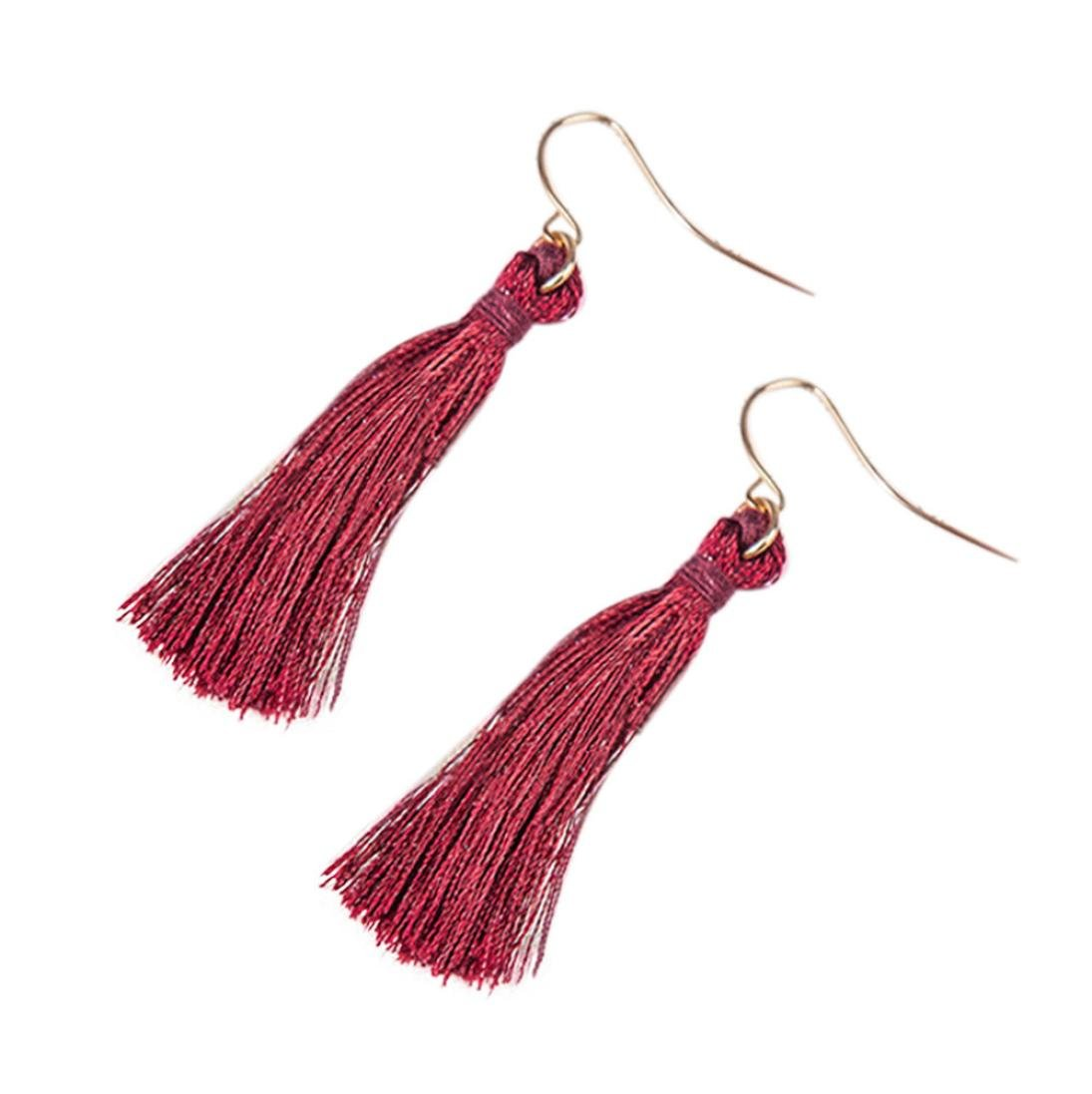 Minshao Bohemian Earrings Women Long Tassel Fringe Dangle Earrings (Navy)