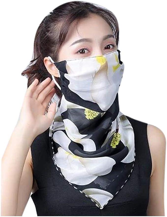 Riou Damen Halstuch Mundschutz Multifunktionstuch Bandana Sommer Uv Schutz Atmungsakti Chiffon Tuch Schlauchtuch Bekleidung