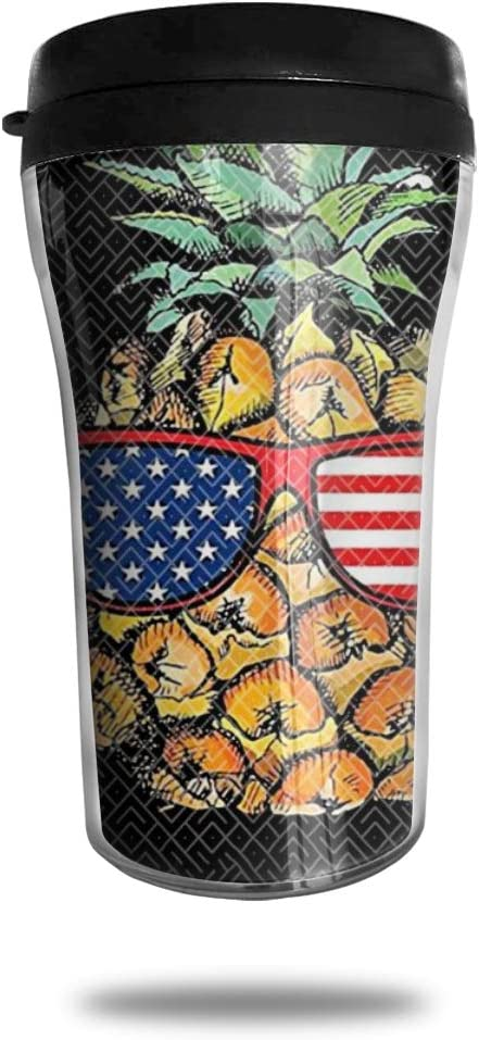 CZJAHBL Pineapple Sunglasses American Flag Travel Coffee Mug Delicate Printing Portable Vacuum Cup,Food Grade Abs Insulated Cup Anti-Spill(8.8 Oz)