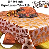 """lace leaf maple Thanksgiving Decorations Fall Tablecloth Lace Maple Leaf Rectangle Table Cloth 60x104"""" Embroidered Taupe Table Runner Cover for Autumn Harvest Festival Catering Events Dinner Parties Picnic Camping"""