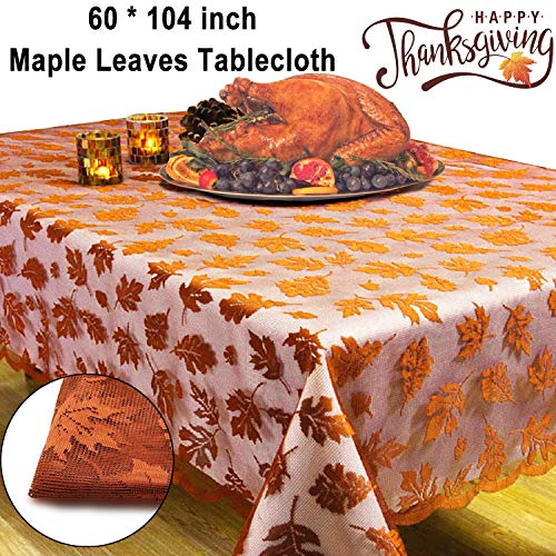 """Thanksgiving Decorations Fall Tablecloth Lace Maple Leaf Rectangle Table Cloth 60x104"""" Embroidered Taupe Table Runner Cover for Autumn Harvest Festival Catering Events Dinner Parties Picnic Camping"""