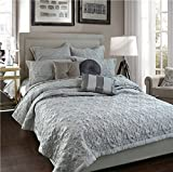 Adream Faux Silk/ Cotton Floral Pattern Quilted Bedspread Solid Colored Coverlet Double Quilt Wedding Home Textile Comforter, King ,240x260cm,Gray