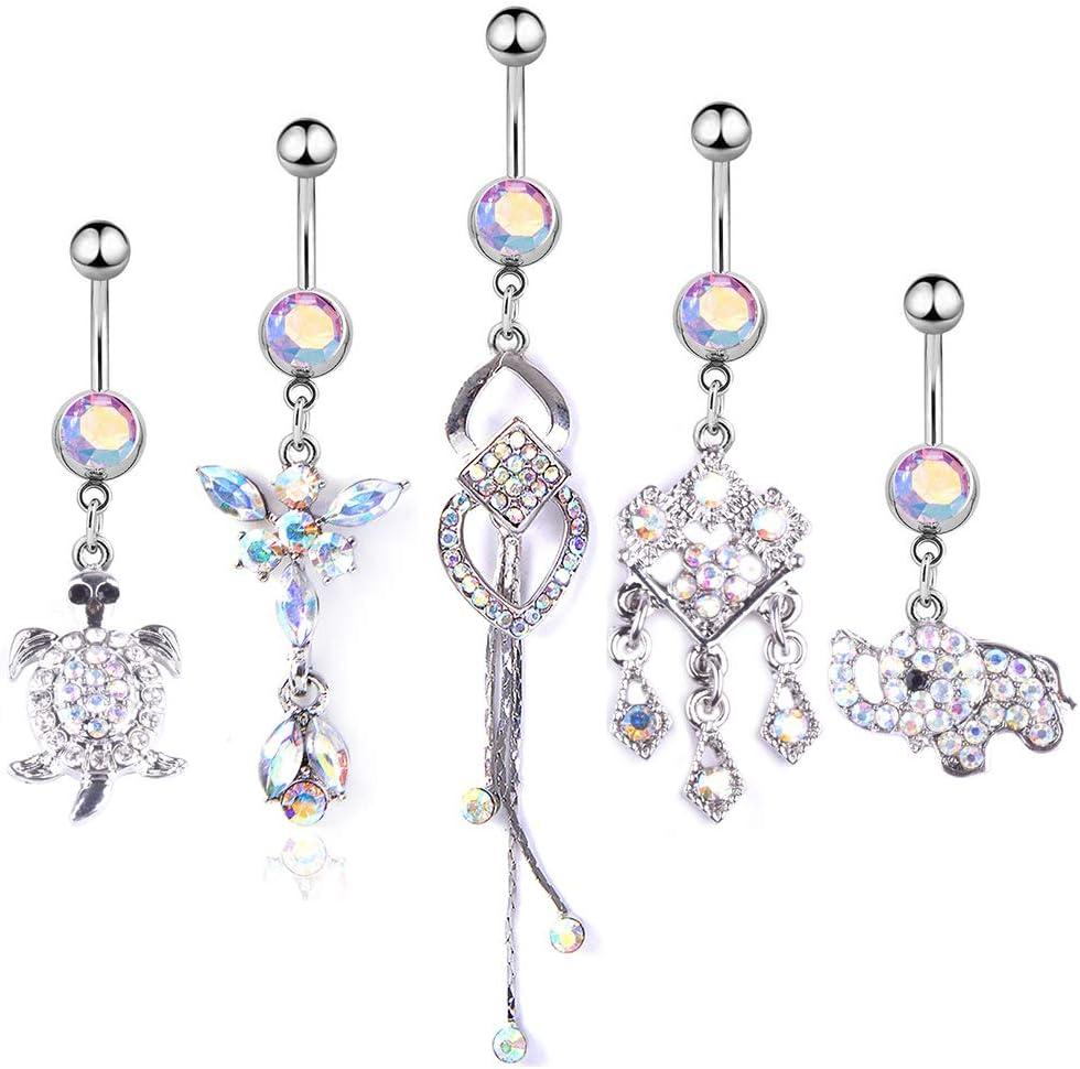 AKDSteel Juego de 5 anillos para ombligo de acero inoxidable con colgante de diamante y borla, accesorio para el hogar para la familia