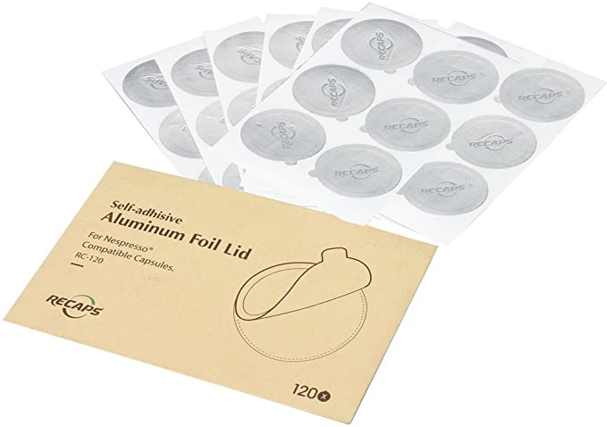 RECAPS Aluminum Espresso Lids Foil Seals Reusable Capsules Compatible with Nespresso But Not Compatible with Vertuoline (Lids 240 Pcs Only) 37mm in Diameter