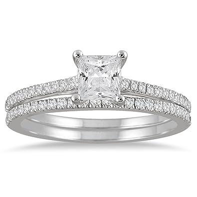 disfruta del envío gratis marca popular replicas 1 Carat TW diamante corte princesa nupcial conjunto en 14 K ...