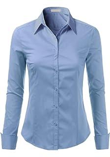 b3897c65c34 Foryous Women Button Down Shirt Long Sleeve Blouses Slim Fit Plus Size