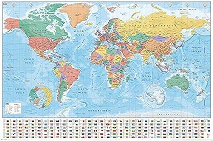 World Maps Mapas del Mundo Banderas y Hechos Póster (tamaño Grande), Multicolor: Amazon.es: Hogar