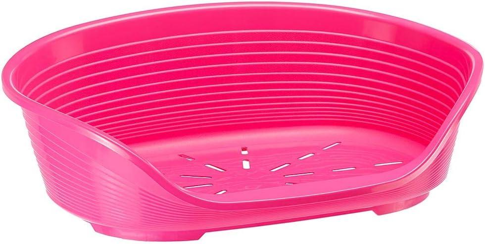 Feplast 70204916 Cama de Plástico para Perros y Gatos Siesta Deluxe 4, Cesta para Animales, Fondo Perforado, Antideslizante, Cómodo Apoyo para El Mentón, 61.5 x 45 x 21.5 Cm Rosa